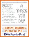 "A ""Thank You"" Day Poem Cursive Writing Printable"