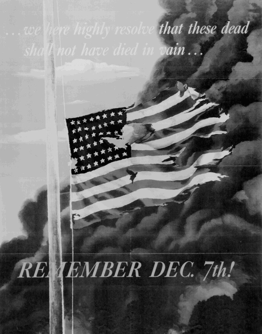 "Color WWII propaganda poster by Allen Saalberg, 1942. ""...we here ..."