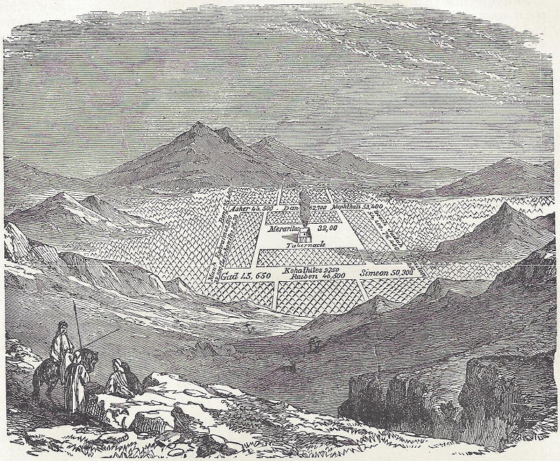 The camp of the Israelites in the wilderness.