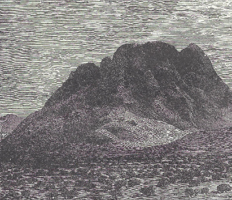 This pen-and-ink drawing depicts Mount Sinai as seen from the plain of ...
