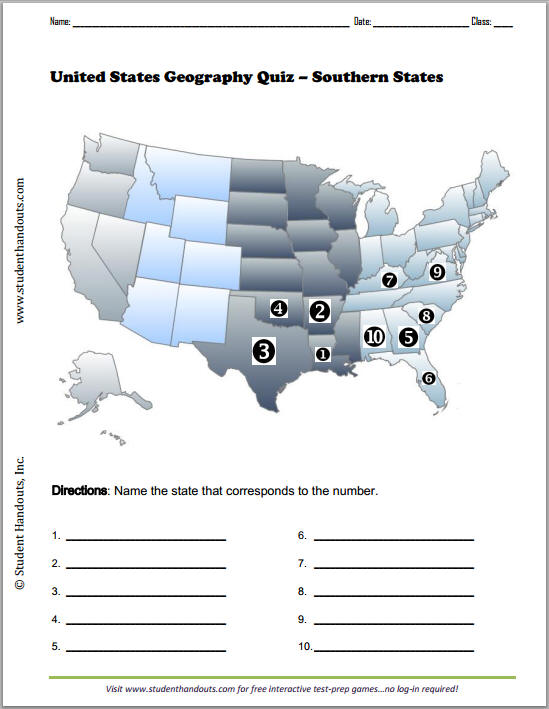 Free Printable Geography Map Quiz Worksheet on Southern U.S. States ...