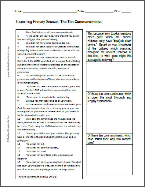 Ten Commandments For Kids Printable The ten commandments dbq