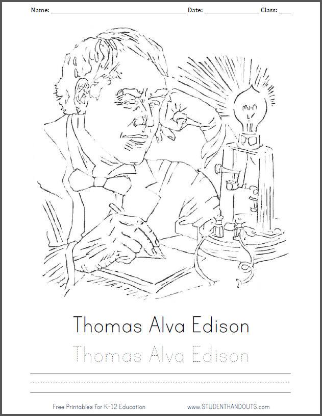 Thomas Alva Edison Coloring Page Student Handouts
