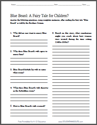 Click here to print this worksheet with five short-answer ...
