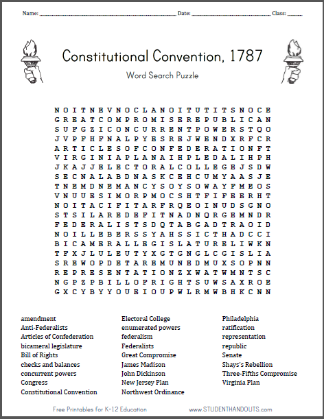 Constitutional Convention Word Search Puzzle on Bill Of Rights Activity Sheet