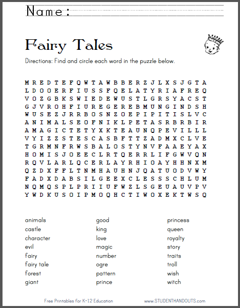 Worksheets Fairy Tale Worksheets fairy tales word search puzzle