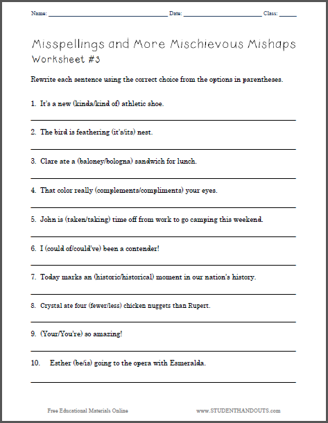 Misspellings and More Mischievous Mishaps - Worksheet 3 : Student Handouts