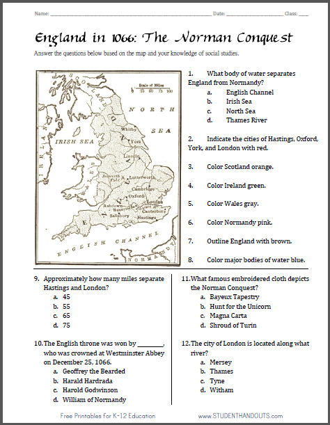 norman conquest map worksheet free to print pdf file. Black Bedroom Furniture Sets. Home Design Ideas