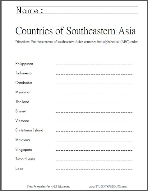 Southeastern asian countries