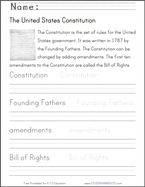 Printables Constitution Worksheets u s constitution handwriting