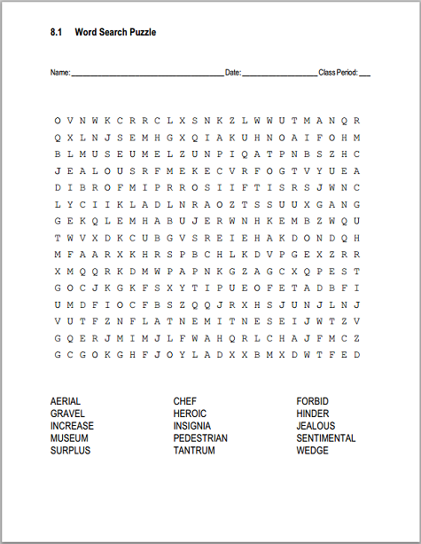 Click here to print (PDF file). Click here for the answer key.