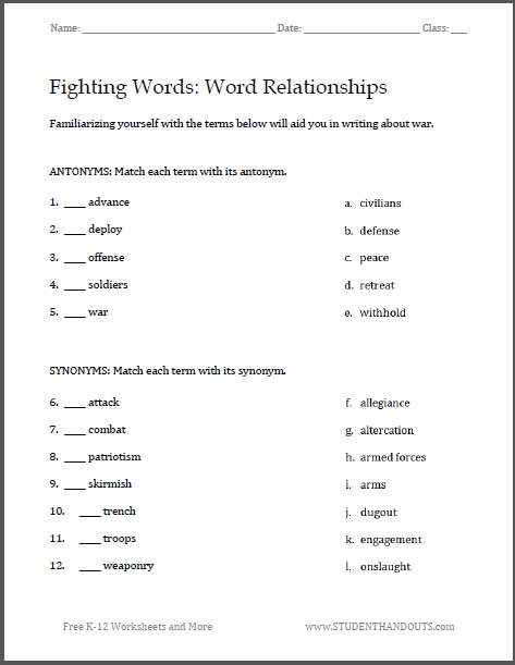 fighting words war writing worksheets helpful vocabulary terms for writing about war free to. Black Bedroom Furniture Sets. Home Design Ideas