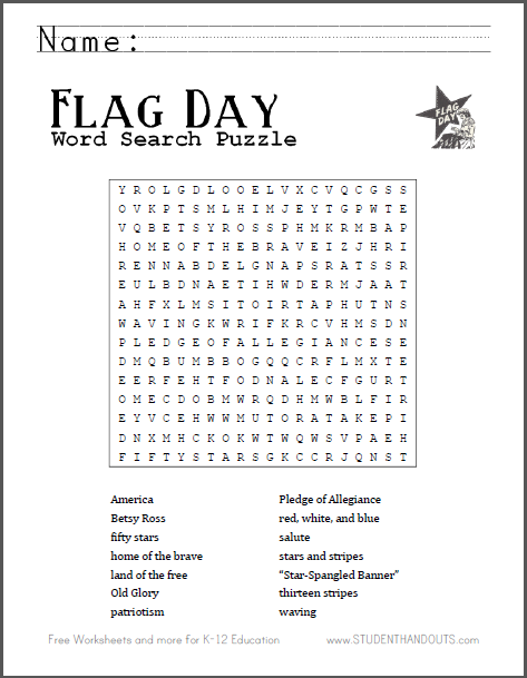 Free Printable Word Search Puzzle For Flag Day Scroll Down PDF File