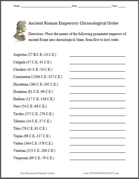 Roman Emperors: Chronology Worksheet : Student Handouts