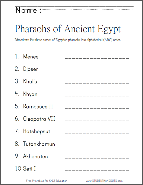 Pharaohs of Ancient Egypt in ABC Order : Student Handouts
