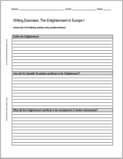 enlightenment writing exercises free to print two worksheets each with three short essay. Black Bedroom Furniture Sets. Home Design Ideas