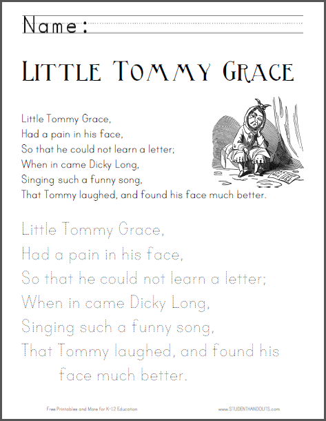Little Tommy Grace Nursery Rhyme Worksheets Student