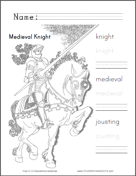 Medieval Knight Jousting Coloring Sheet : Student Handouts