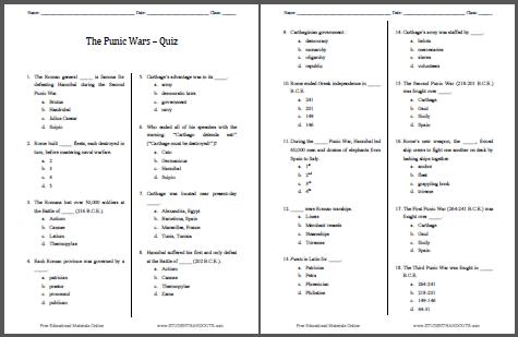 Punic Wars Pop Quiz - 18 Questions | Student Handouts