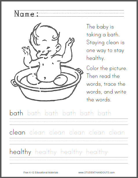 The baby is taking a bath. Staying clean is one way to stay healthy.