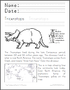 Triceratops Lower Elementary Science Worksheet with Coloring