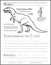 Tyrannosaurus Rex Facts Worksheet