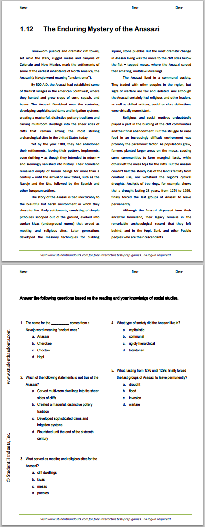 """""""The Enduring Mystery of the Anasazi"""" Reading with Questions for High School United States History Students"""