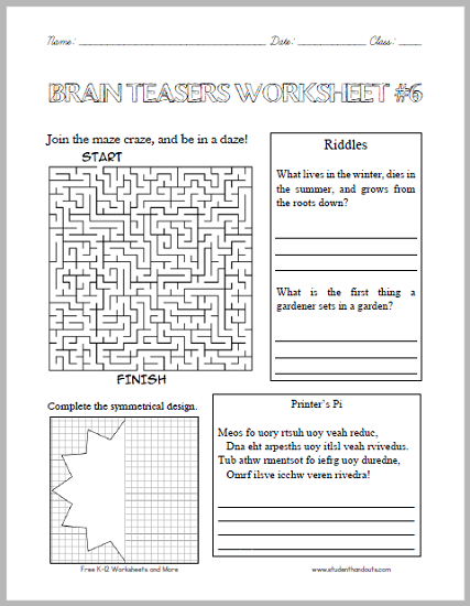 brain teasers for high school students with answers brain teasers worksheet 6 student. Black Bedroom Furniture Sets. Home Design Ideas