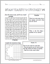 math worksheet : free printable brain teasers and puzzles  student handouts : Printable Brain Teasers Worksheets For Adults