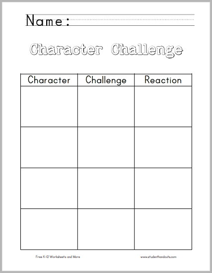 Character challenge chart worksheet student handouts ccuart Images