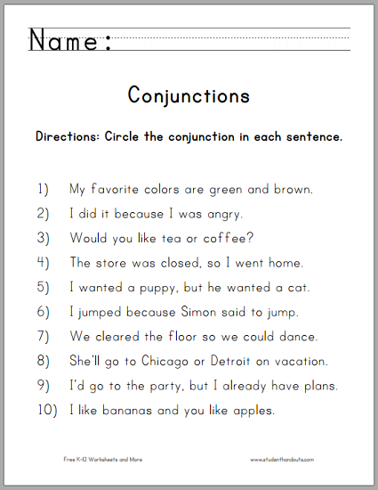 Conjunction worksheets