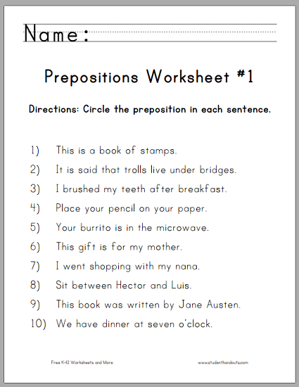 Circle the Prepositions Worksheets | Student Handouts