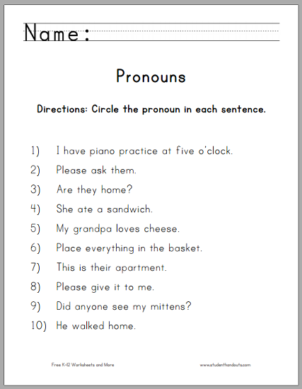 Printables Pronouns Worksheets circle the pronouns worksheet student handouts