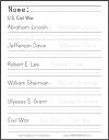 Civil War Leaders Handwriting Worksheet