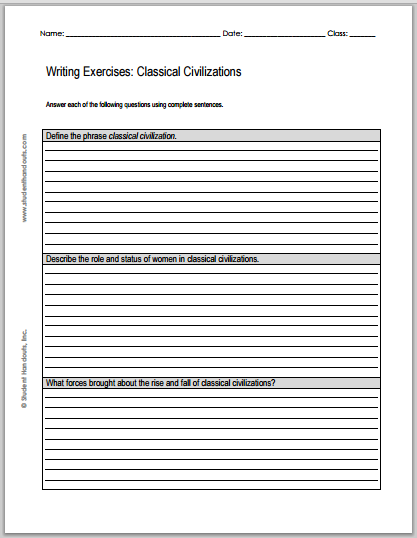 Classical Civilizations Writing Exercises | Student Handouts