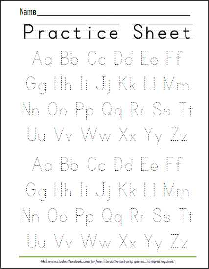 Printables Print Worksheet abcs dashed letters alphabet writing practice worksheet student handouts