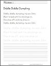 Diddle Diddle Dumpling Nursery Rhyme Printable Worksheet