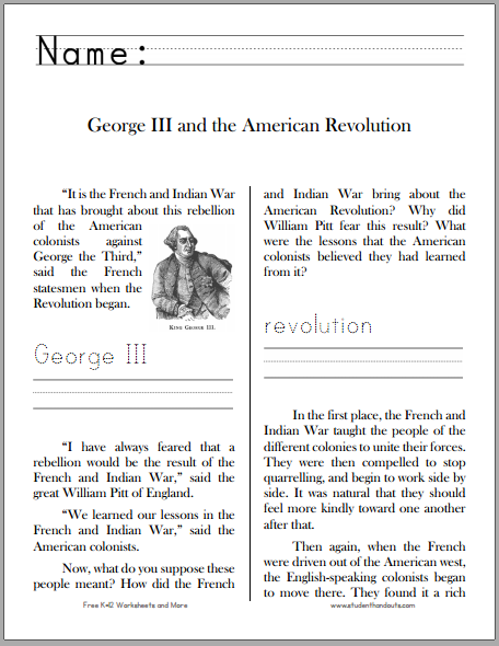 George Iii And The American Revolution Free Printable