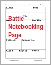History Battle Notebooking Worksheet Page