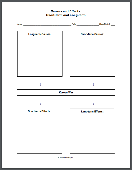 Worksheets Korean War Worksheet causes and effects of the korean war diy infographic worksheet students complete this chart listing short long term war