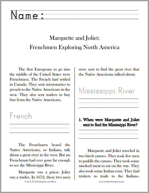 Marquette and Joliet: Explorers - Free printable workbook for lower elementary.