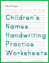 Individual Children's Names Handwriting Practice