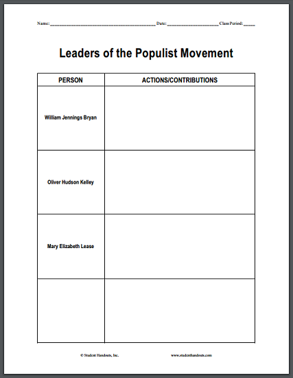 leaders of the populist movement diy chart worksheet is free to print pdf file. Black Bedroom Furniture Sets. Home Design Ideas