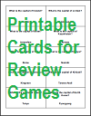 Printable Cards for Review Games