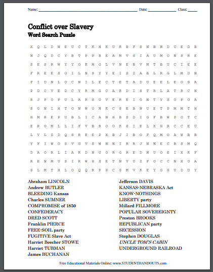 The Conflict over Slavery Word Search Puzzle