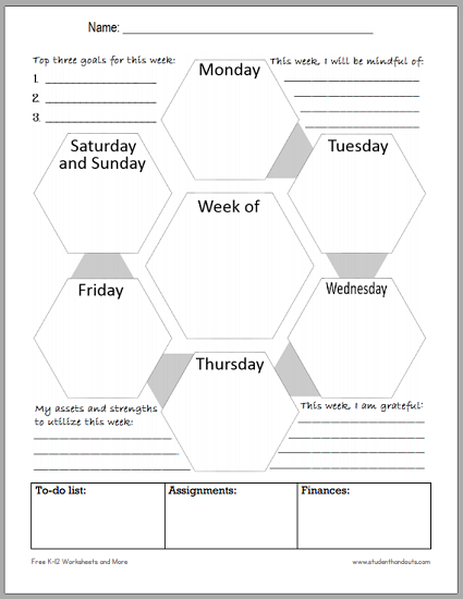 Mindful Blank Weekly Planner for Students