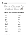 Thanksgiving Rhyming Words Matching Worksheet for Grades K-2