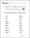 Thanksgiving Rhyming Words Matching Worksheet for Grades K-2