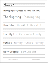 Thanksgiving Terms Print Manuscript Handwriting Practice Worksheet