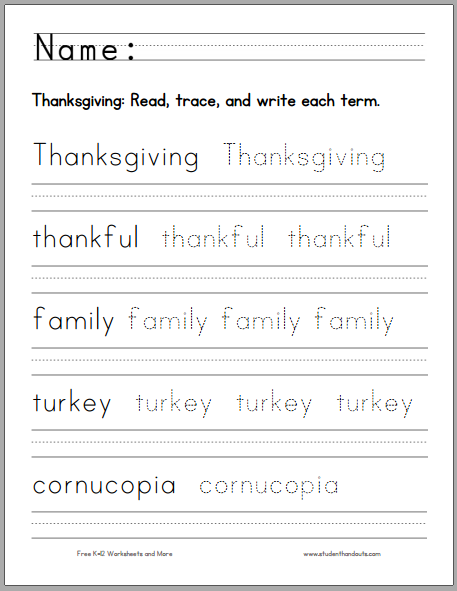 Thanksgiving Handwriting Practice Worksheet for Kids | Student Handouts